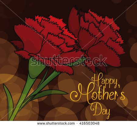 Red carnations with a dark background with bokeh effect commemorating a elegant scene for Mother's Day.