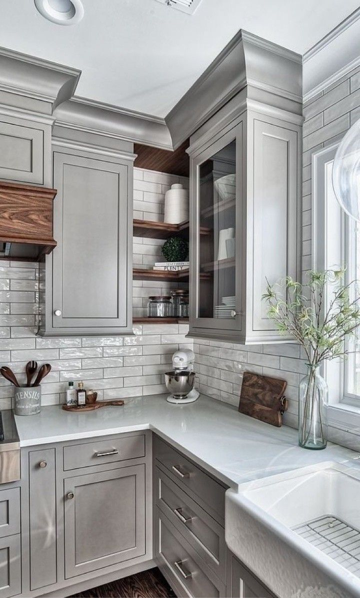Light Gray Cabinets White Quartz Countertops Grey Kitchen Designs Kitchen Inspirations Kitchen Design