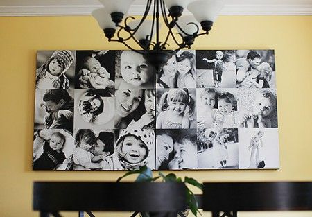 What a great idea if you can ot do that large of a canvas you could just as easy do 12 x 12 photos and mod podge them on a canvas