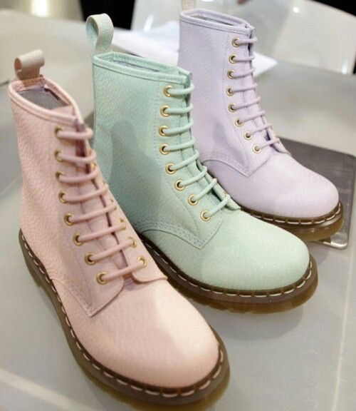 Pastel Doc Martens. Omgg I love the mix of girly girl and industrial punk