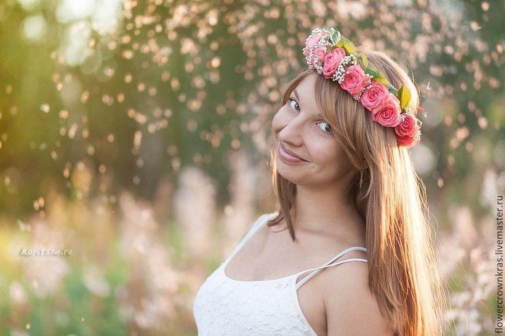 Купить Венок из роз - украшение для волос, украшение в прическу, венок из цветов, розовые розы