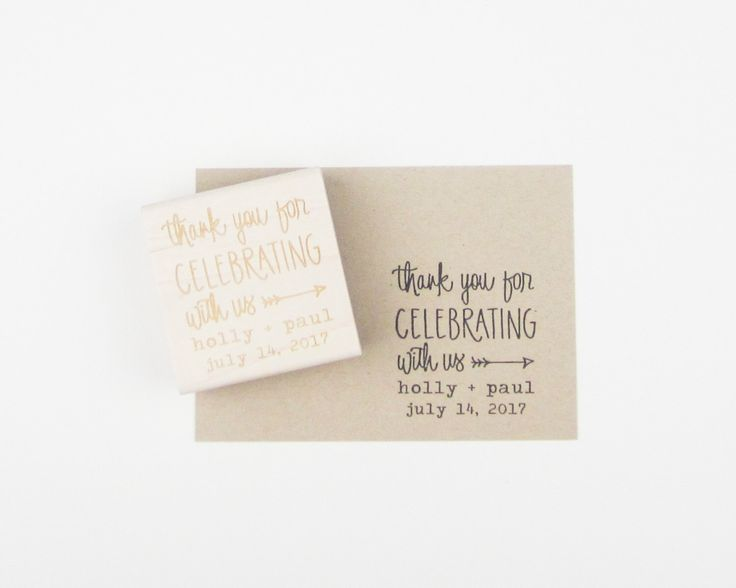 Custom Wedding Calligrapy Stamp - Thank You For Celebrating With Us personalized wedding stamp for DIY wedding favors - H4300 by papersushi on Etsy https://www.etsy.com/ca/listing/126655158/custom-wedding-calligrapy-stamp-thank