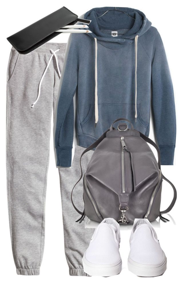 """""""Stiles Inspired Finals Outfit with Sweatpants"""" by veterization ❤ liked on Polyvore featuring H&M, Madewell, Rebecca Minkoff and Vans"""