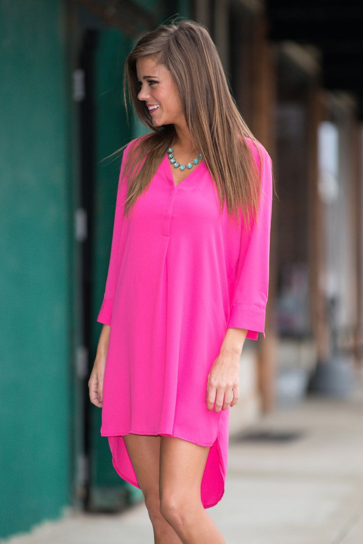 Ultimate Shirt Dress, Fuschia - The Mint Julep Boutique