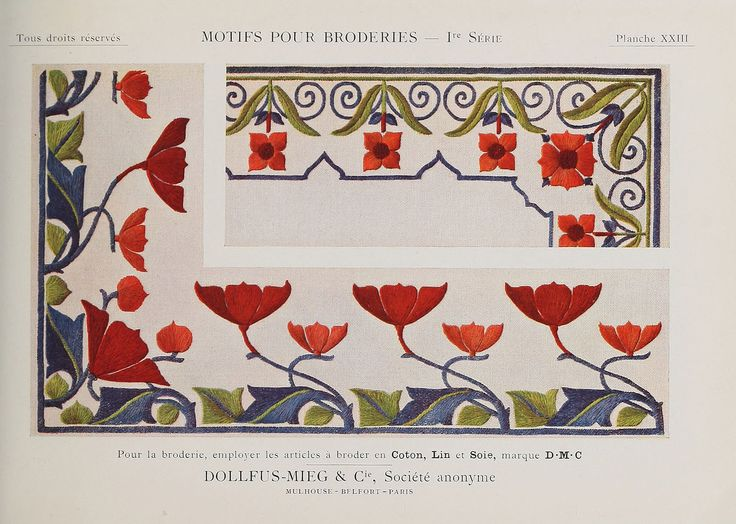 """Embroidery design by Thérèse de Dillmont (1846-1890), who wrote books on needlework and was """"one of the most important pioneers in the international and multicultural enterprise of hobby needlework in the late nineteenth century"""" (https://en.wikipedia.org/wiki/Th%C3%A9r%C3%A8se_de_Dillmont). More from this book: https://commons.wikimedia.org/wiki/Category:Motifs_pour_broderies_(DMC)  Pattern…"""