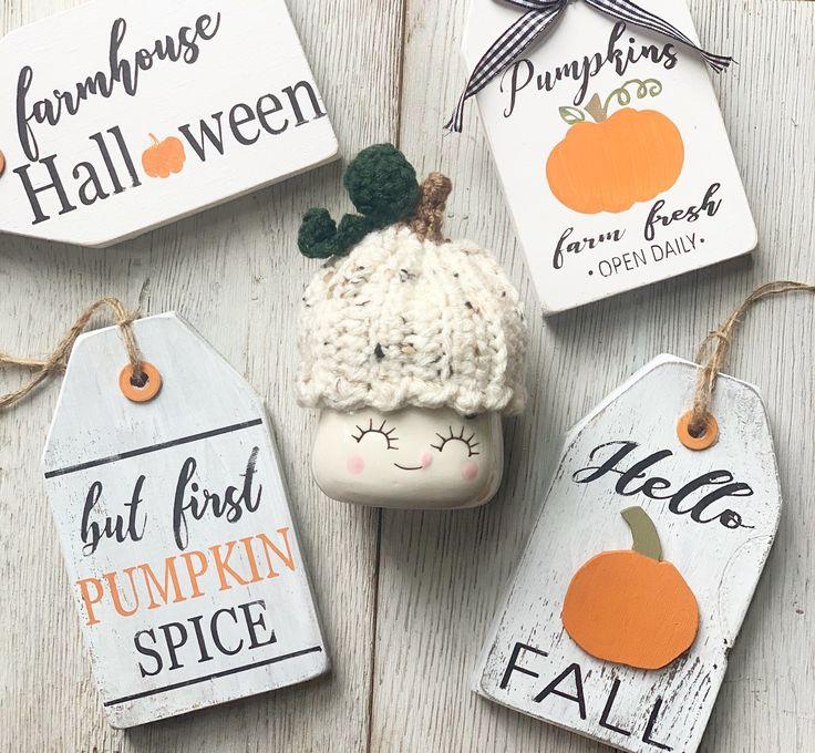 Hello Fall / Pumpkins / Tiered tray decor / Tiered tray signs / Pumpkin Spice / Farm fresh pumpkins / Farmhouse decor / Farmhouse Halloween