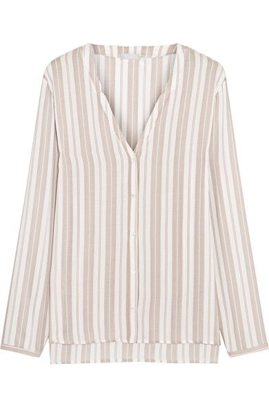 Hanro - Lara Striped Voile Pajama Shirt - Off-white - medium