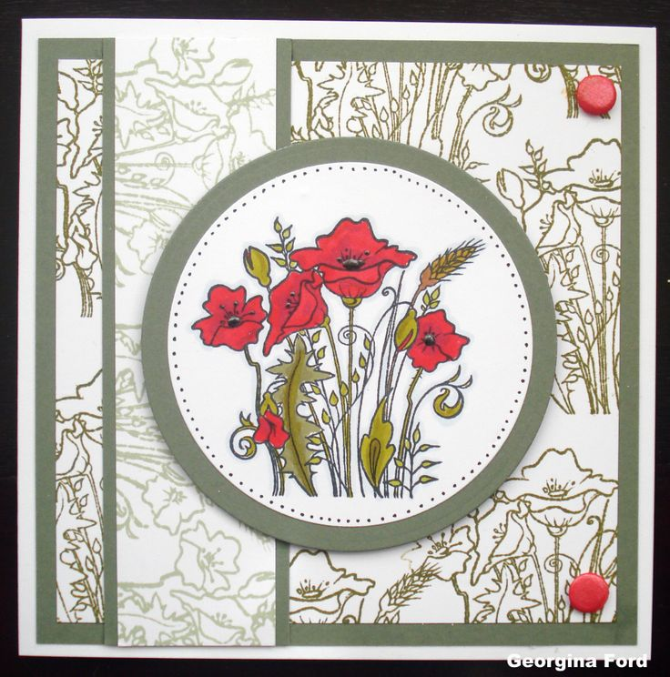 This Gorgeous Card was made by Georgina Ford using Hobby Art Poppies stamp designed by Sharon Bennett