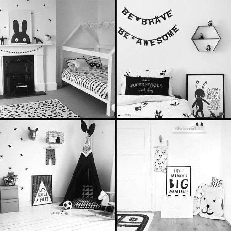 The Only Girl in the House Blog, Monochrome Kids Room - black and white interior design ideas for toddlers to teens bedrooms. Black and white prints in frames for boys and girls cool bedrooms