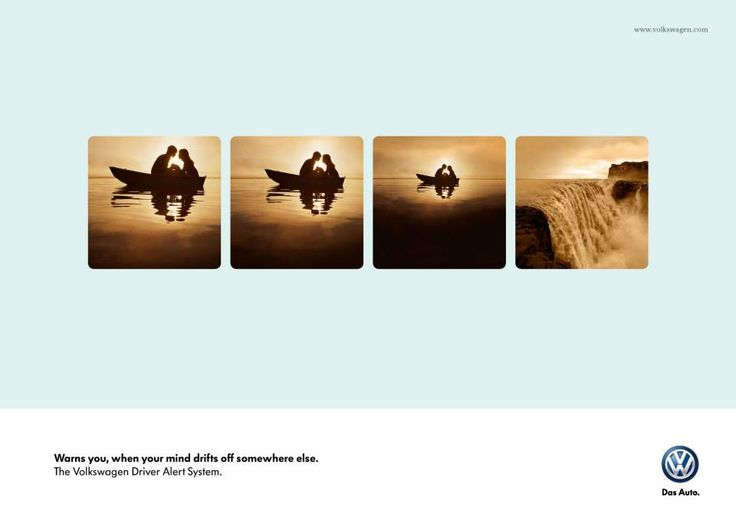 Volkswagen: Boat | Warns you, when your mind drifts off somewhere else. The Volkswagen Driver Alert System.