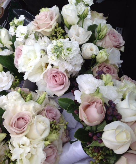 Roses, Lisianthus, Stock and Berries.