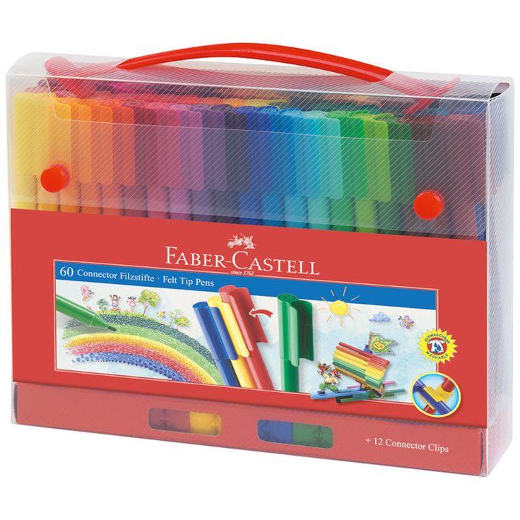 NEU Faber-Castell Connector Filzstifte 60er Koffer