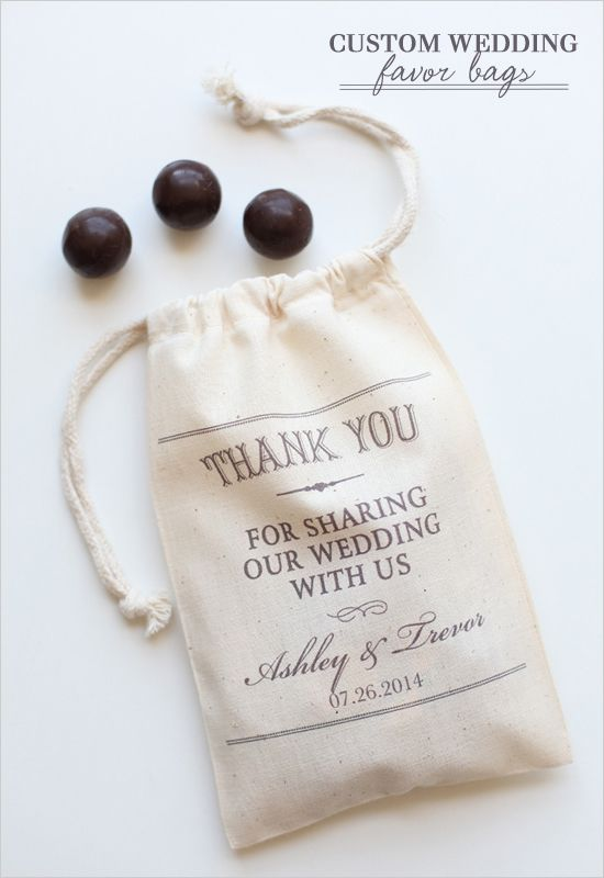 Custom Wedding Favor Bags are the perfect gesture to thank guests for sharing in your special day.