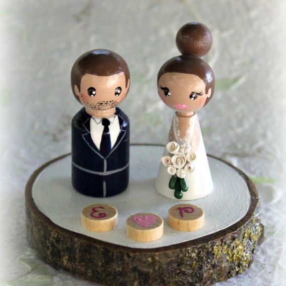 Personalized Wedding Cake Topper Painted Wedding by ArtwenShop