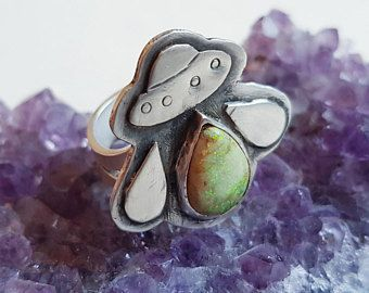 The Visitor Ring | alien accessories alien jewelry UFO ring with cultured opal | jewelry, UFO space ring for geek girls