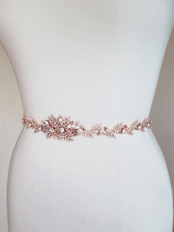 Rose Gold Bridal Crystal Belt Sash By Sabinakwdesign