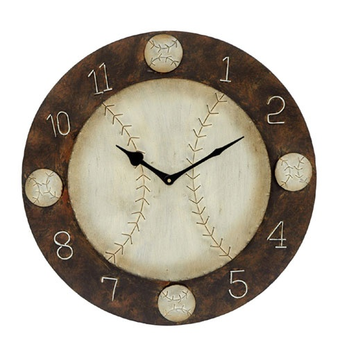 Baseball Themed Wall Clock Crestview Collection Wall Mounted Clock Clocks Home Decor