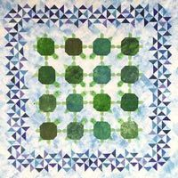 """Turtle Party Pattern by Elisa's Backporch Designs at KayeWood.com. This is the most delightful quilt for the turtle lover. The turtles have little stuffed 3-D heads and tails and they are all heading to a turtle party. This quilt pattern continues to delight the young and not so young. Those turtles are SO CUTE! Large quilt measures 63"""" x 63"""". Also includes instructions for the smaller wall hanging at 25"""" x 25""""…"""