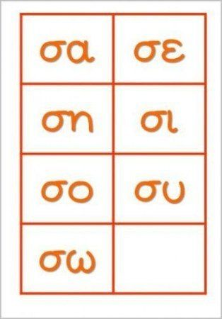κάρτες με συλλαβές που ξεκινούν από το γράμμα σ