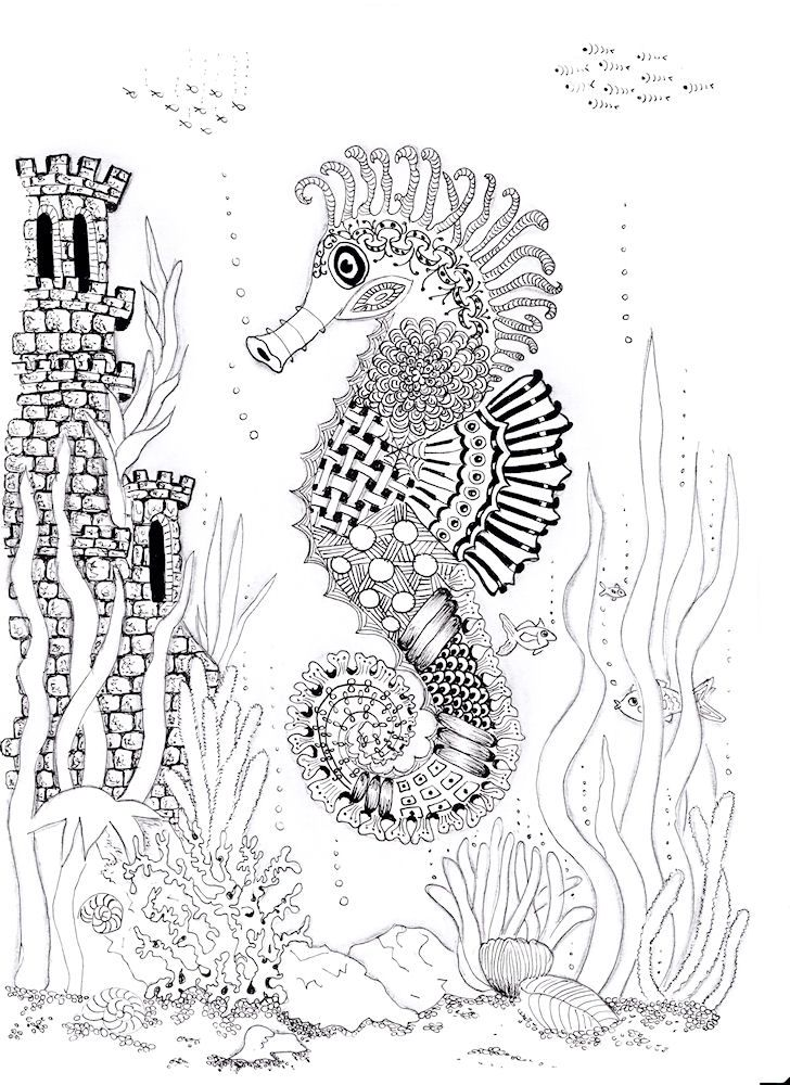 53 best images about adult coloring pages underwater for Koi larousse
