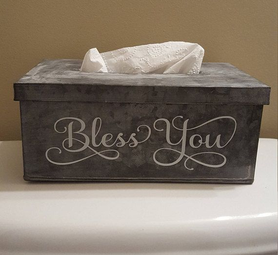 Galvanized Metal Tissue Box Holder with Lid - Bless You on the by PlushBrentwood  http://etsy.me/2rNvaBb?utm_content=buffer0b2cd&utm_medium=social&utm_source=pinterest.com&utm_campaign=buffer via @Etsy