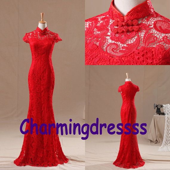 Mermaid Red Lace Full Length Chinese Classical Style Qipao Bridesmaids/Evening Party/Homecoming Cocktail Prom Gown Dress Prom Gown