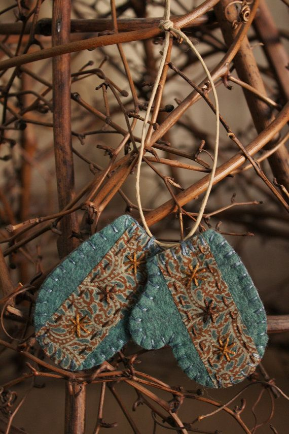 winter mittens felt ornament felt and fabric by urbanpaisley, $13.50