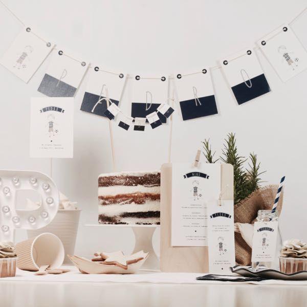 Diseño grafico personalizado para Primera Comunión niño / Candy Bar / Azul y blanco / La Fiesta de Olivia Barcelona