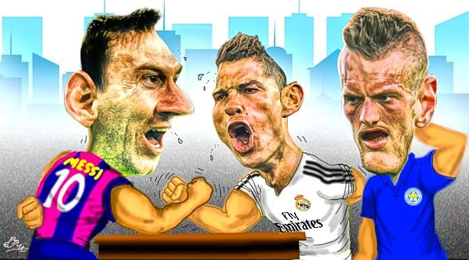 Messi, Ronaldo, dan Vardy (Design:Abdillah)