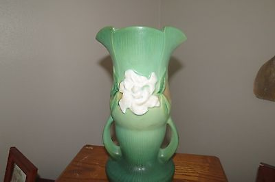 Roseville 685-10 Double Handled Green Blue Gardenia Vase