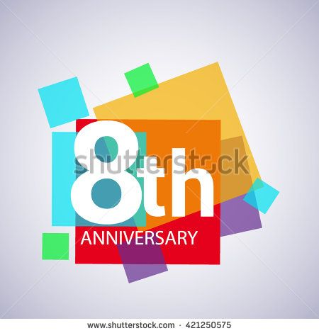 8th anniversary logo, 8 years anniversary colorful vector design. geometric background. - stock vector