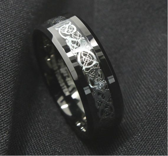 Celtic Tungsten Ring Black By TemptingJewels