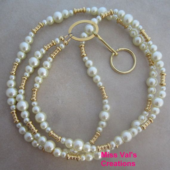 Ivory Pearl and Gold Beaded Lanyard Badge ID by missvalscreations