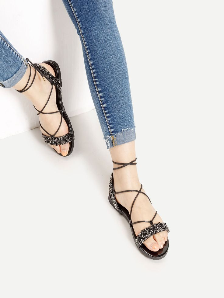 Shop Stone Embellished Cross Lace Up Sandals online. SheIn offers Stone Embellished Cross Lace Up Sandals & more to fit your fashionable needs.