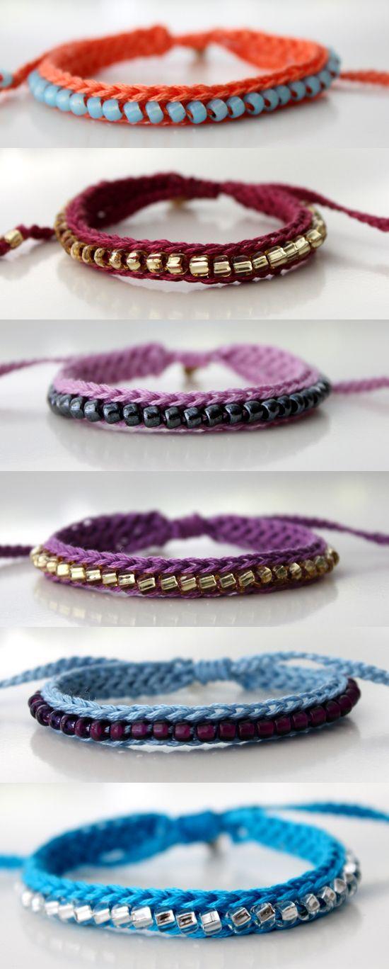 crochet seed bead bracelets - so cute