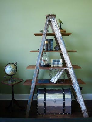 cool book shelf ... adding antique ladder to the junk shop search list.: Wooden Ladders, Old Ladders, Living Room, Ladders Decoration, Ladders Shelf, Cool Idea, Vintage Ladder, Ladders Shelves, Patio Plants