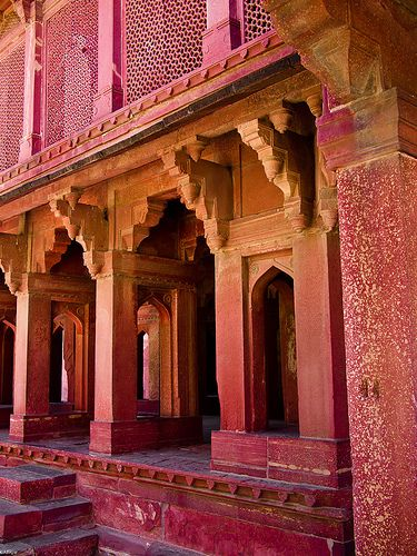 Grand architecture in shades of pink and papaya…