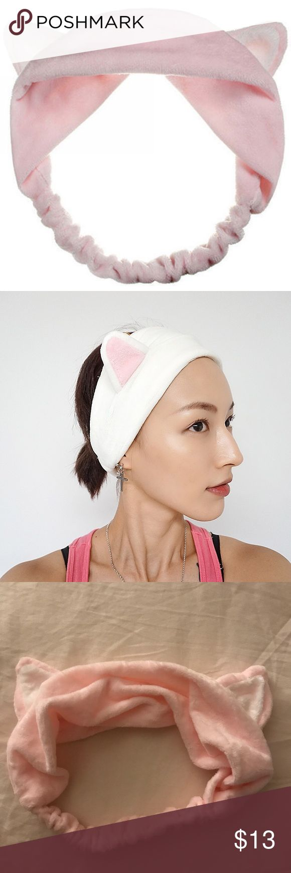 Cat Ears Hairband - Baby Pink NWOT - Brand new, never been used. Perfect to put up your hair when you wash your face, put on make up, go to the spa, enjoying a nice relaxing bath or putting on a facial mask. Can also be worn for fun; dress up or costume. You can even use it while you work out to keep your hair from falling in your face! Plush fabric. Elastic band. Approx 10x4in. Accessories Hair Accessories