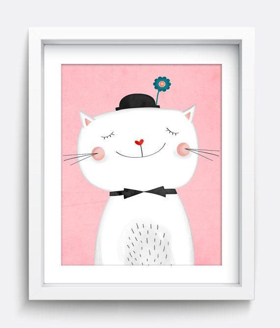 Cat Print, Printable Wall Art, Instant Download Printable Art, Nursery Art, Kids Wall Art, Home Decor, Wall Art, Art Prints, Kitten, Pink