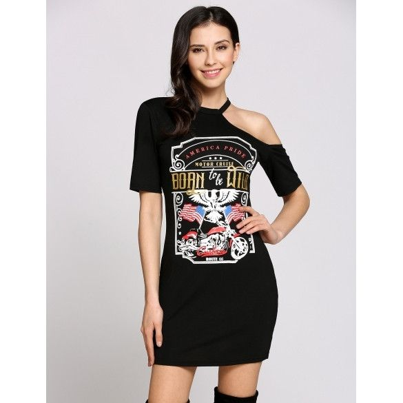 Short Sleeve Round Collar Cold Shoulder Animal Print T-Shirt Going Out Dress