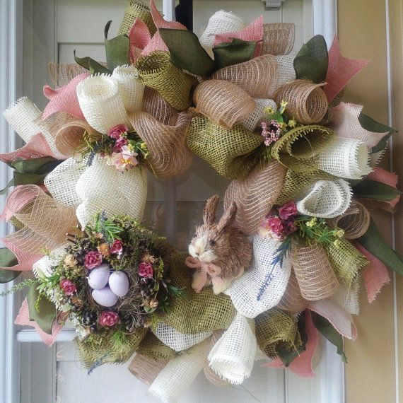 EASTER WREATH/ Natural Burlap/ Deco Mesh/ by OfftheWallKreations