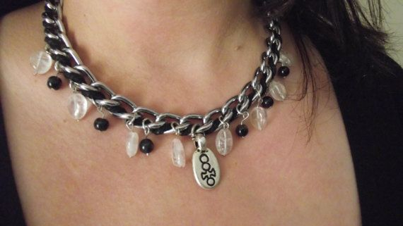 Chain necklace with Crystal pendants by MaryLooGifts on Etsy
