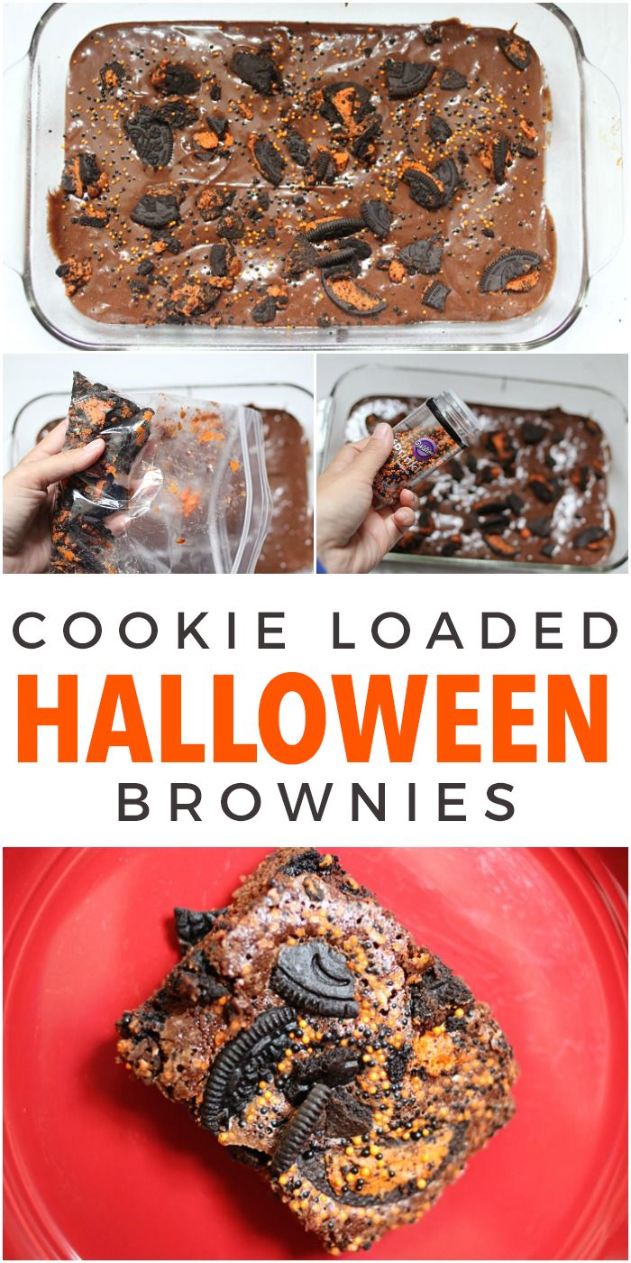 Cookie Loaded Halloween Brownies. A fun way to spice your regular brownie recipe for Halloween!