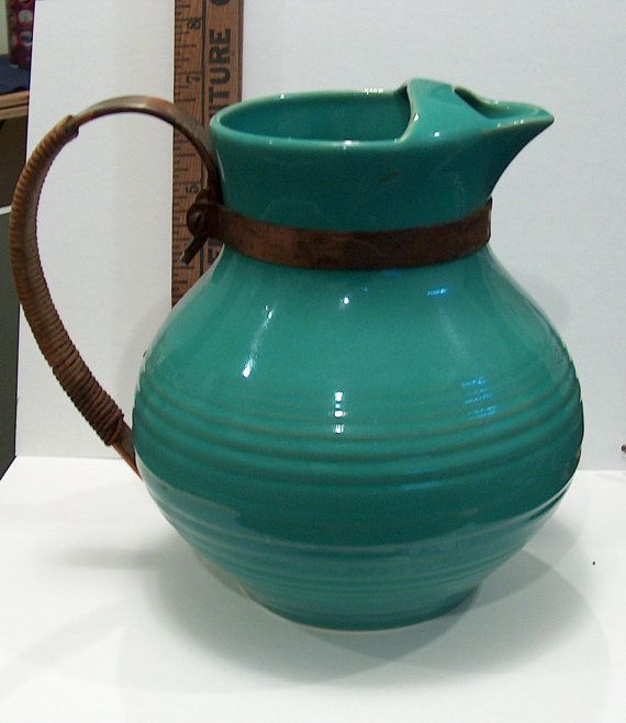 Rare Vintage Bauer Pottery Green Ringware Pitcher with Ice Lip and Raffia/Copper Handle