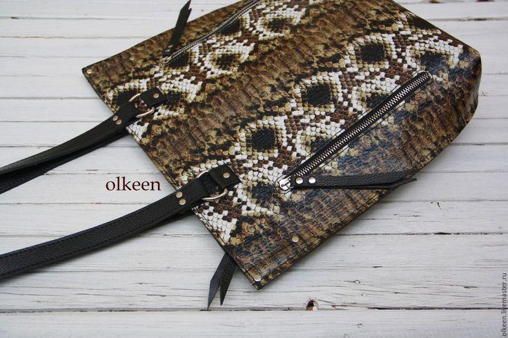 Купить Shopper сумка-шоппер - черный, звериная расцветка, змеиный принт, змеиный рисунок