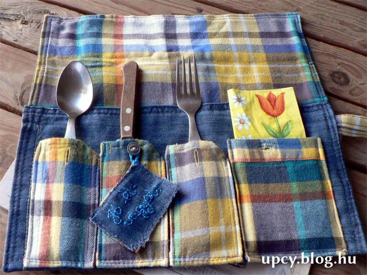 Recycled denim and shirt cutlery roll tutorial - Újrahasznosított farmer és ing evőeszköztartó, útmutató