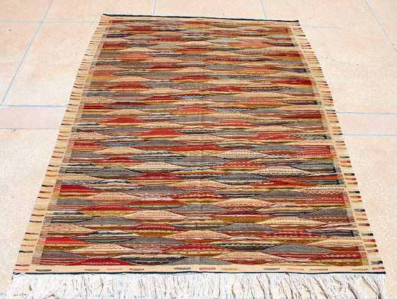Hell Braun Roter Kelim Teppich 150x200, Beiger Kelimteppich, Handgewebter Teppich, Teppich Flachgewebe, Marokkanischer Wollteppich