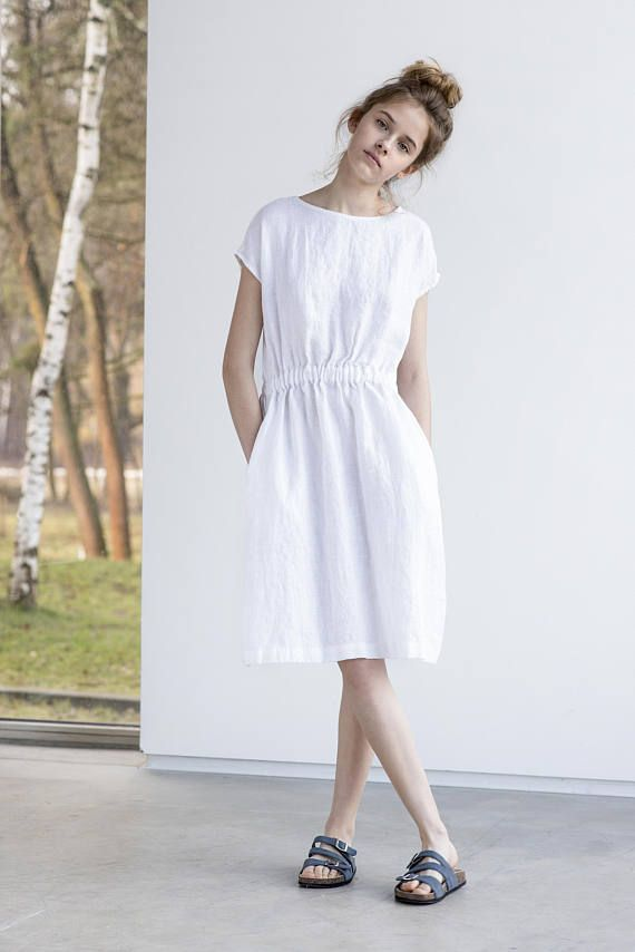 e1b2daaeac1 Basic linen dress with elastic waistband in white / Washed | for me ...