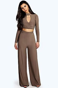Priya Key Hole Top Palazzo Trouser Co-Ord Set