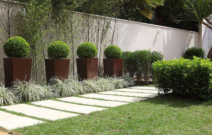 Junto ao muro neste jardim de 6 m² em São Paulo, bambus-mossô, vasos com buxinhos podados e, no chão, barbas-de-serpente. Projeto do paisagista Roberto Riscala